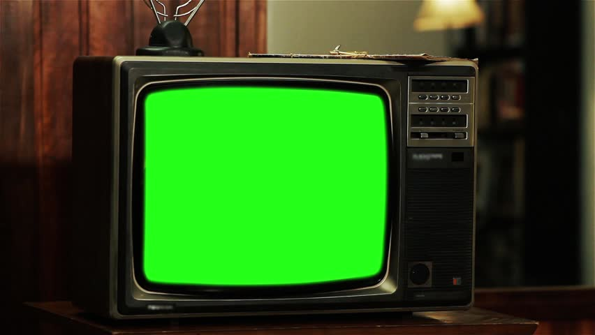 "80s TV With Green Screen. Contrasted Tone. Zoom In. Ready to Replace Green Screen with any Footage or Picture you Want. You Can Do It With ""Keying"" (Chroma Key) Effect. Full HD. #1015771645"