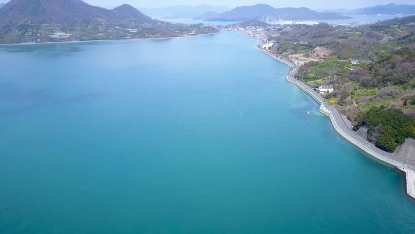 Beautiful coastline of japans famous shimanami kaido cycle path across islands