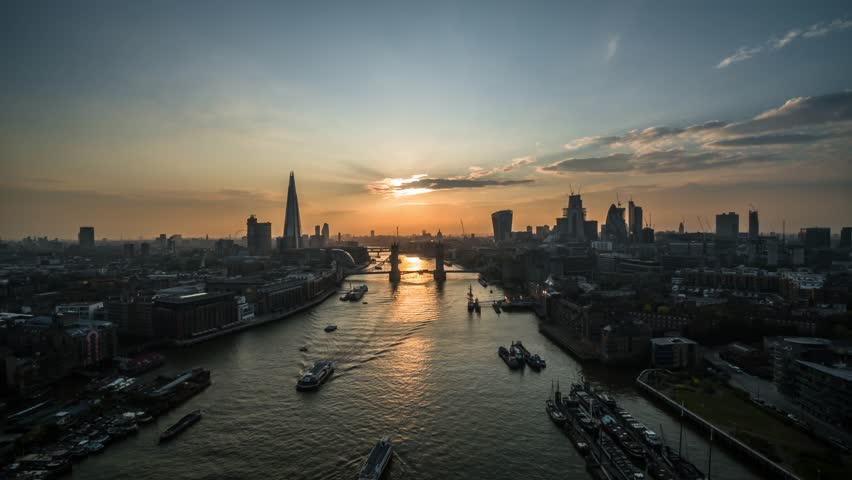 Establishing Aerial View of Tower Bridge, Shard, London Skyline, London, United Kingdom | Shutterstock HD Video #1015781455