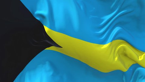 66. Bahamas Flag Waving in Wind Slow Motion Animation . 4K Realistic Fabric Texture Flag Smooth Blowing on a windy day Continuous Seamless Loop Background.
