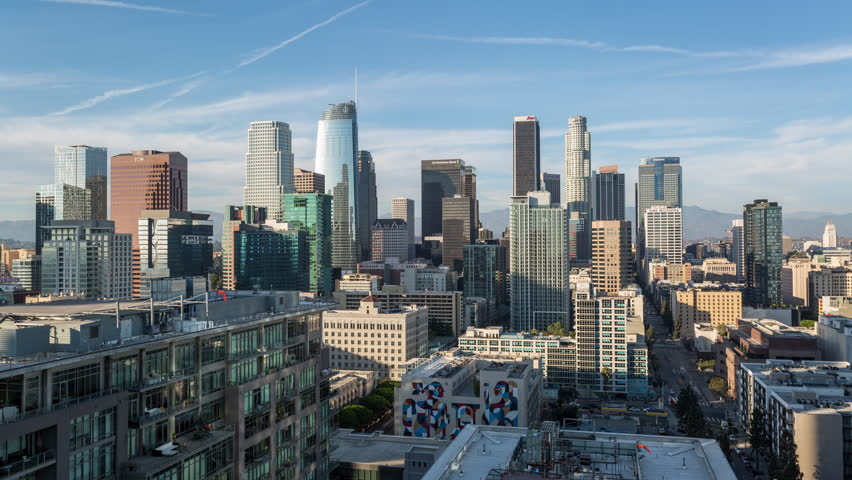 Los Angeles, California, USA - August 31st 2018 - Downtown Los Angeles Skyline Golden Hour Day Timelapse | Shutterstock HD Video #1015832455