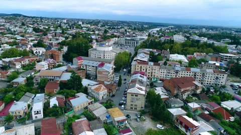 Top aerial view on the city centre of Kutaisi, Georgia