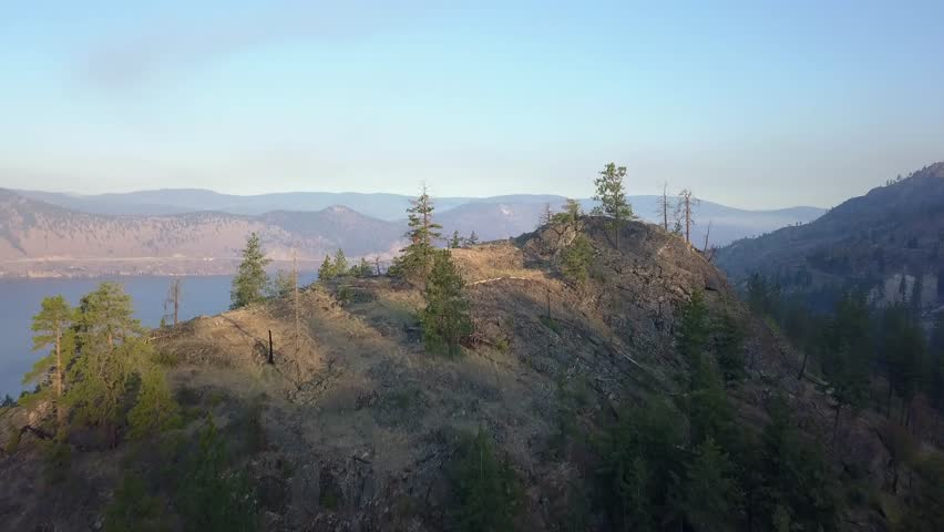 Okanagan valley reveal drone aerial view. Flight over hill showing beautiful vineyard by the lake. Sunrise sky. Drone showing beautiful open landscape in British Columbia Canada. Some wildfire smoke