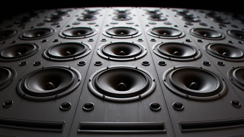 Modern speakers playing, stacked in an endless wall pattern loop. Powerful membranes in closeup, vibrate in even frequencies suggesting loud, high decibel music. Audiophile electronic equipment.