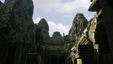 Timelapse day to night of Bayon courtyard Angkor Wat Cambodia Siem Reap