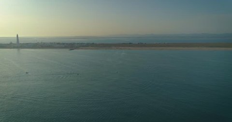Aerial view of beautiful ilha do Farol beach (lighthouse island), in Ria Formosa famous nature destination, Algarve coast, Portugal.