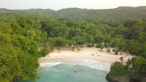 Port Antonio Jamaica Frenchman's Cove Beach Aerial Footage