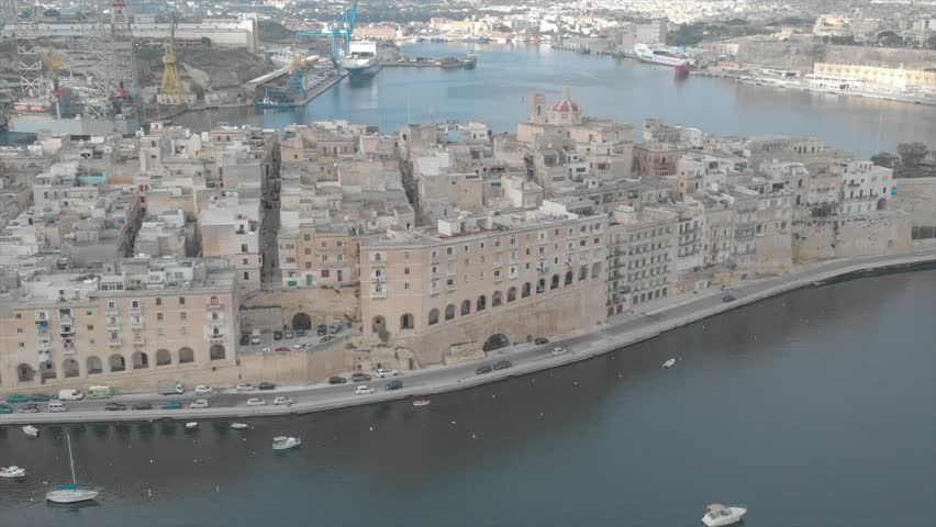 Cottonera Bormla Birgu Isla Aerial Footage - Malta Europe #1016067595