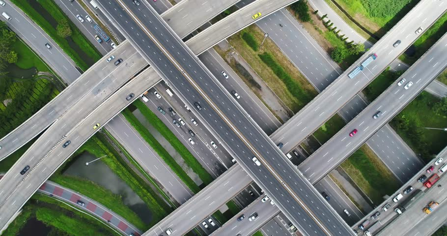 Aerial view, top down view of traffic jam on a car bridge. 4K video