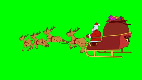 Animated Santa Claus goes fast christmas sleigh 2. Looping hand drawn animation. Original file 4K has alpha channel