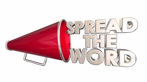 Spread the Word Share Information Bullhorn Megaphone 3d Animation