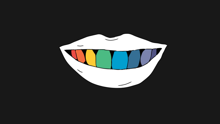 2d animation rainbow teeth. Smile and kiss lip. Pre-rendered with alpha channel in a QuickTime(PNG) with 4K resolution. Hand Drawn colorful teeth in mouth. For dentist, lgbt, tv and digital graphics