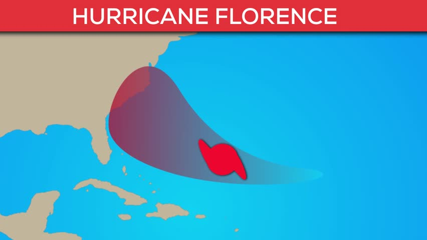Florence hurricane or tropical storm animation. Flatten storm progress animation.