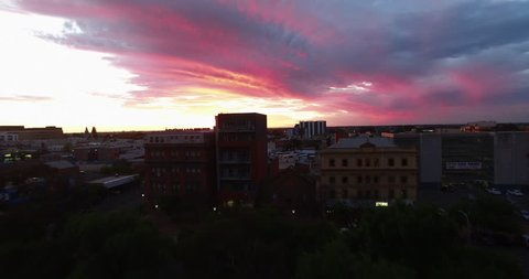Aerial Drone Shot of Adelaide Downtown at Sunset, Australia