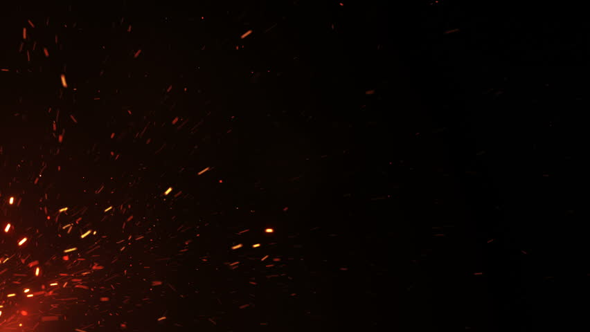 Beautiful Burning Hot Sparks Rising from Large Fire in Night Sky. Abstract Isolated Fire Glowing Particles on Black Background Flying Up. Looped 3d Animation. 4k Ultra HD 3840x2160. | Shutterstock HD Video #1016205685