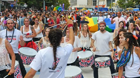 Torremolinos, Spain. Circa June 2018. Group of batucada street drummers in the gay pride parade