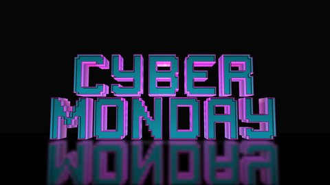 Cyber Monday Mega Sale 3D Text Looping Animation, Gaming And LED Letters, Blue And Purple Colors, Black Background - 4K Resolution Ultra HD