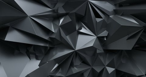 3d render, black abstract crystal  fashion background, crystallization, low polygonal intro, seamless looping, morphing