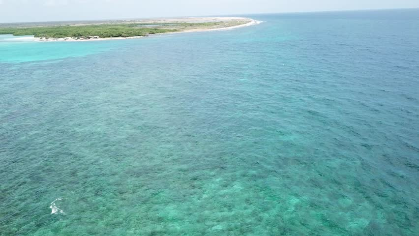 sea beach coast Bonaire island Caribbean sea aerial drone top view 4K UHD video