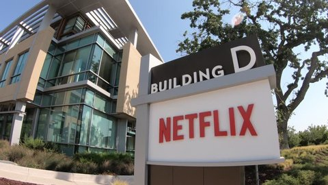 Los Gatos, California, United States - August 12, 2018: Netflix sign at Netflix Headquarters in Silicon Valley, Ca. Netflix is an entertainment service provider for movies and tv.
