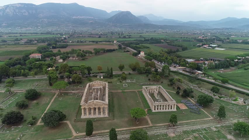 Aerial view. Ruins of Peastum. Temple of Hera I and II. Italy, 4K. | Shutterstock HD Video #1016258275