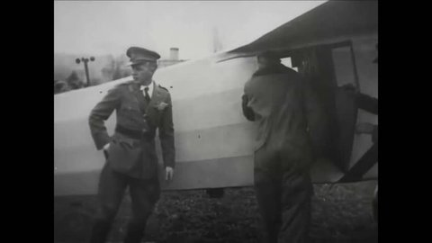CIRCA 1927 - Charles Lindbergh prepares to fly from Washington DC in the Spirit of St. Louis.