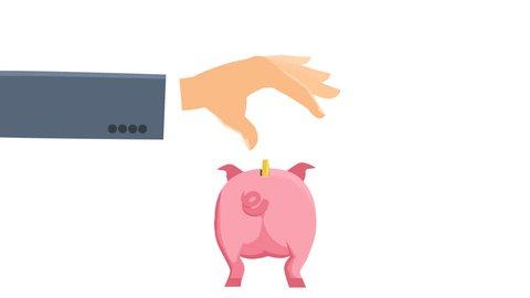 Cartoon hand throws golden dollar coin into a pink piggy bank moneybox backwards