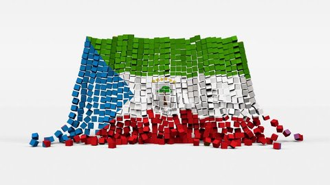 Flag of Equatorial Guinea created from 3d cubes in slow motion