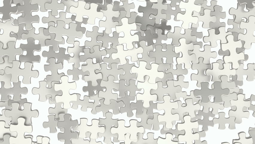 Piece of the puzzle connects with the rest creating the whole jigsaw. Animation of puzzle pieces with black and white mask for puzzle elements.