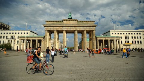 BERLIN, GERMANY - MAY 2, 2009 Time Lapse of Berlin City Crowd of Tourists People Visit Brandenburg Gate Day