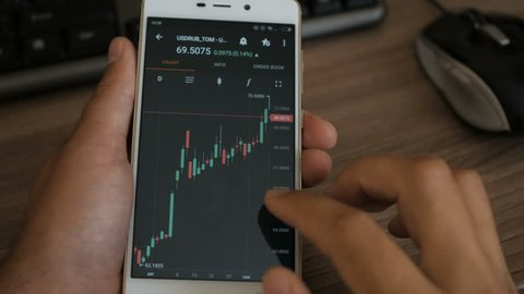 Businessman reading financial news. Stock market, trading online, trader working with smartphone on stockmarket trading floor. Man touching screen, browse foreign exchange market data, chart.
