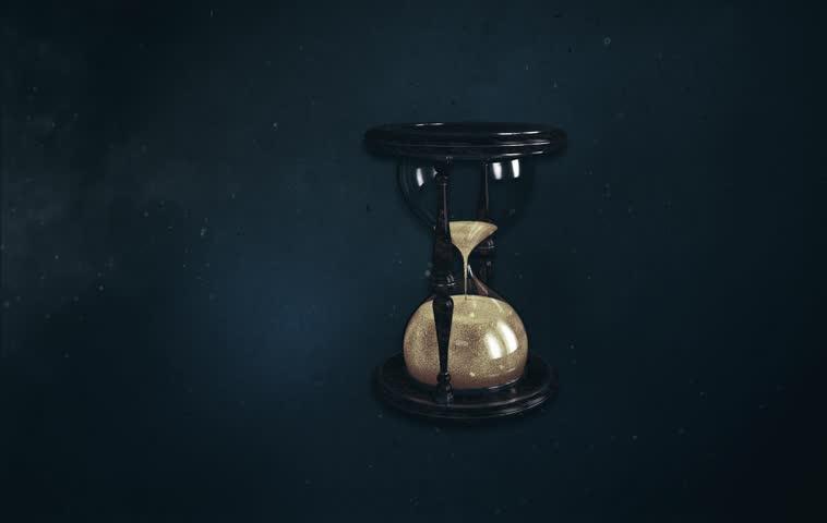 Hourglass, Sand watch, Hourglass view on black background, Hourglass Model on 3d Max, Black Background, Hourglass in Darkness.