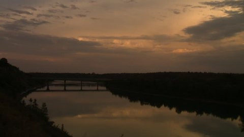 Looking southeast over the North Saskatchewan River and Quesnell Bridge. Shot in Edmonton, Canada.