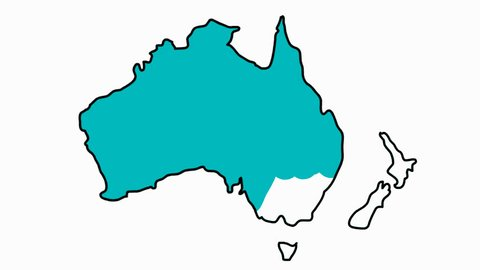 Australia and New Zealand Map sketch illustration hand drawn animation