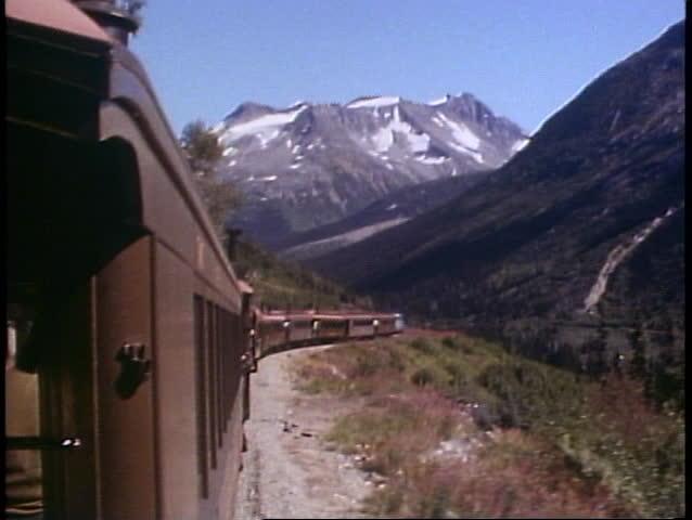 SKAGWAY, ALASKA, 1989, White Pass and Yukon Railroad, POV, train and scenery