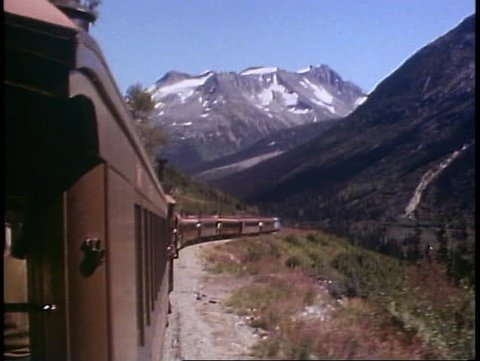 SKAGWAY, ALASKA, 1989, White Pass and Yukon Railroad, POV, train and scenery