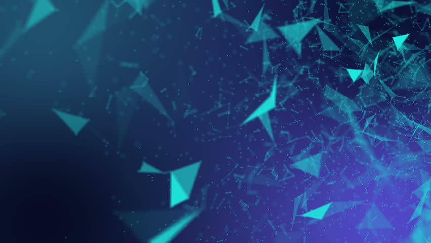 Turquoise triangular particles move slowly on a purple background. Abstract background with blur and depth of field. 3D rendering | Shutterstock HD Video #1016497885