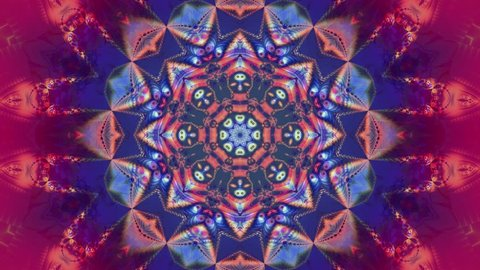 Pink kaleidoscope sequence patterns. 4K. Abstract multicolored motion graphics background. Or for yoga, clubs, shows, mandala, fractal animation. Beautiful bright ornament. Seamless loop.