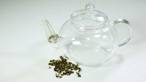 Hua Xiang Qing Xiang Tieguanyin tea close-up. Tie Guan Yin tea for drink. Xiang Hua Oolong green tea. Healthy life, Wellness and Detox.