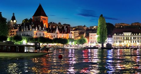 Scenic summer night view of the Old Town of Lausanne, Switzerland