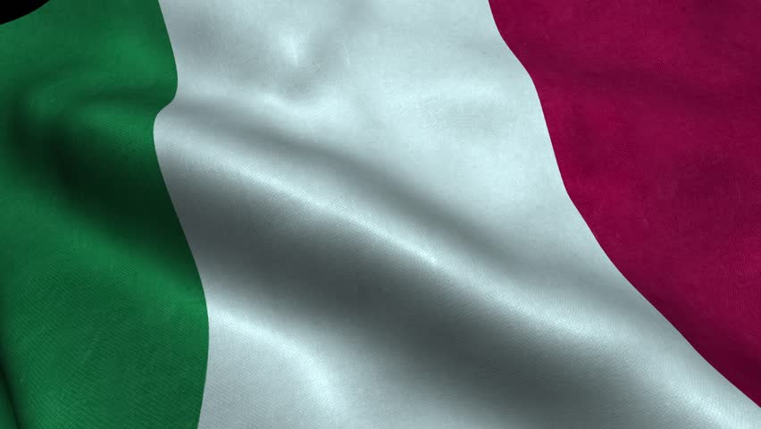 Photorealistic 4k Close up of italy flag slow waving with visible wrinkles and realistic fabric. A fully digital rendering, 3D Animation. 15 seconds 4K, Ultra HD resolution italy flag animation.