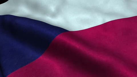 Photorealistic 4k Close up of czechrepublic flag slow waving with visible wrinkles and realistic fabric. 15 seconds 4K, Ultra HD resolution czechrepublic flag animation.