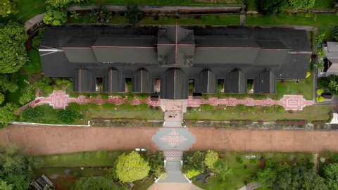 Bird's eye View of The Malacca Sultanate palace Museum ,Muzium Istana Kesultanan Melaka , revealing shot of melaka city