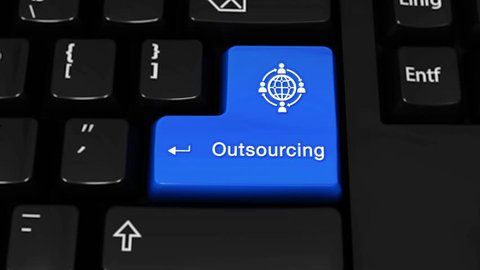 Outsourcing Rotation Motion On Blue Enter Button On Modern Computer Keyboard with Text and icon Labeled. Selected Focus Key is Pressing Animation. Business Management Concept