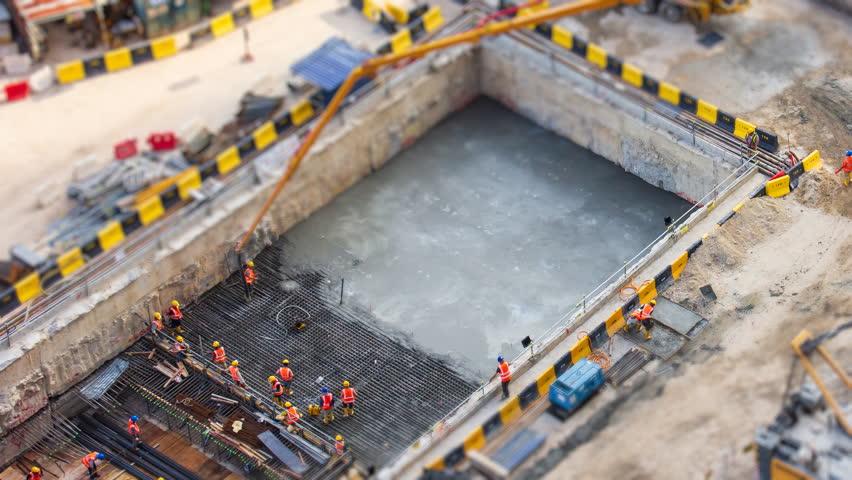 Aerial Big Construction Site Working 4K Time Lapse Tilt-Shift | Shutterstock HD Video #1016688955
