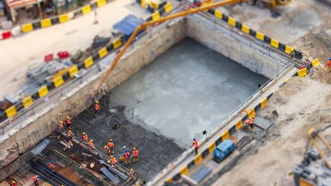Aerial Big Construction Site Working 4K Time Lapse Tilt-Shift