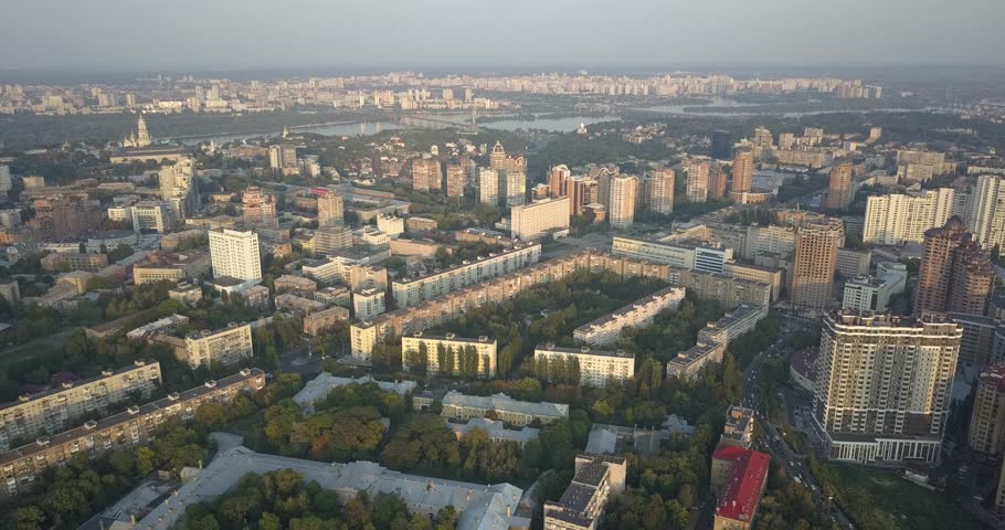 4K. Aerial view. Facade of modern building in the center of Pecherski district Kiev. 4k 4096 x 2160 | Shutterstock HD Video #1016721745