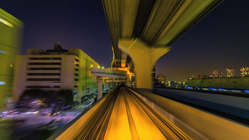 4K.Time lapse automatic train fast speed at Tokyo city of Japan  | Shutterstock HD Video #1016733715