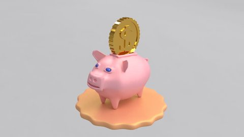 Pig piggy bank symbol of the new year for wealth. 3d rendering