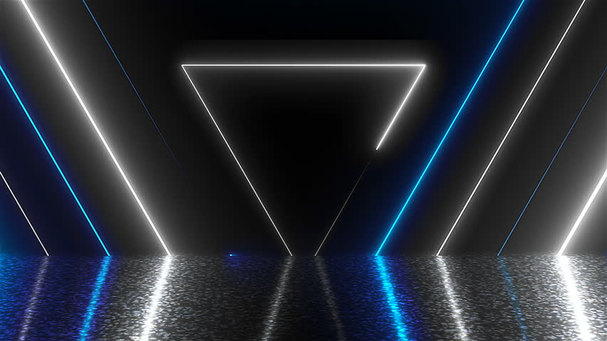 Abstract triangles neon tunnel with reflection, computer generated background, 3D render background   Shutterstock HD Video #1016754265
